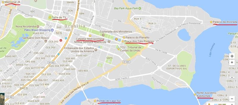 pontos turisricos de brasilia no mapa