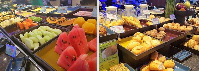 frios e frutas no café da manhã