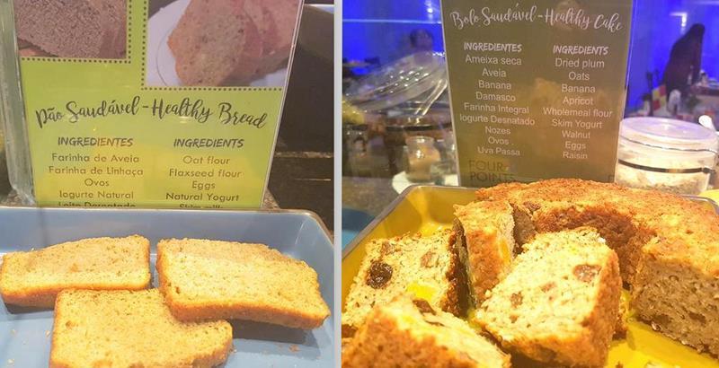Bolos e pães saudáveis sempre estão disponíveis
