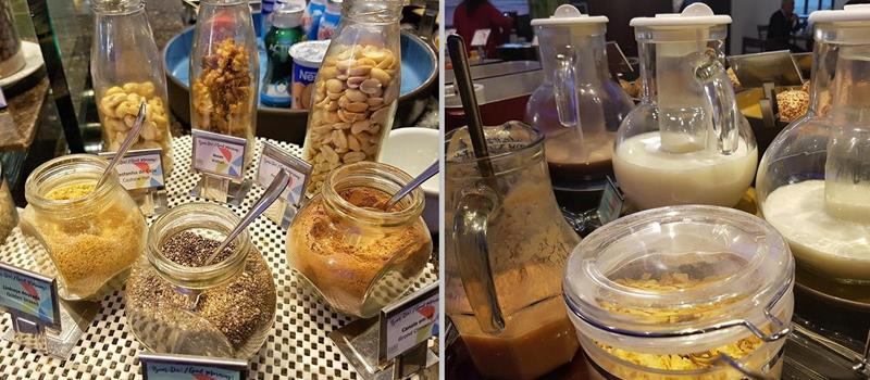 Bebidas sem lactose e diversos cereais e sementes