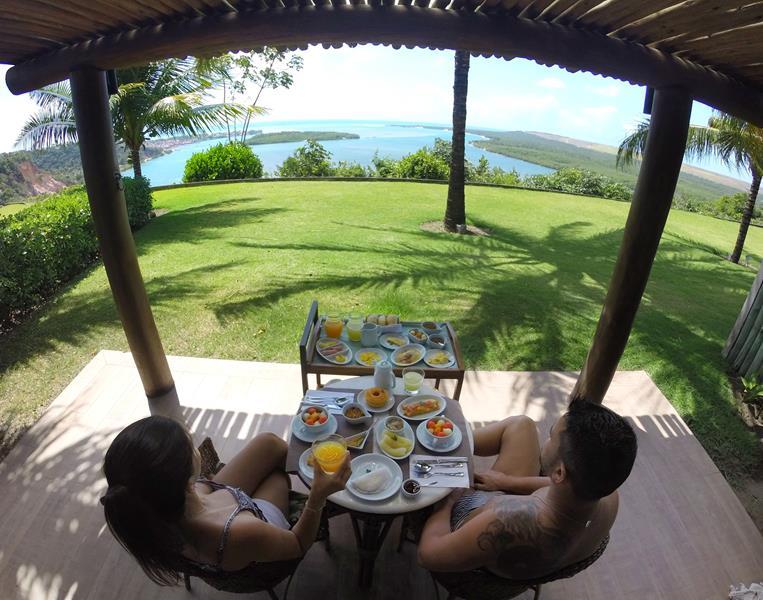 gungaporanga hotel vista do bangalo no café da manhã