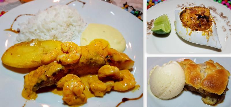 prato principal, entrada e sobremesa no jantar