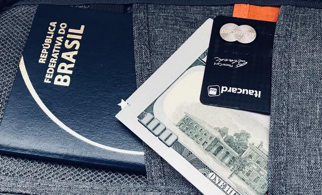 passaporte dinheiro e cartão de crédito
