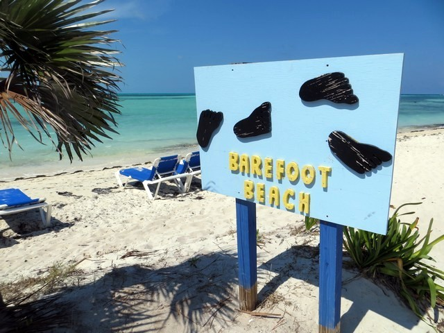 areia branca, mar azul turquesa, placa barefoot beach, cococay
