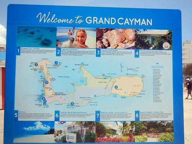 Placa escrito welcome to grand cayman mapa