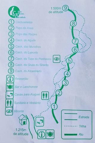Mapa com a localizacao das cachoeiras