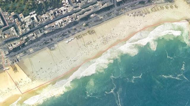 Praia do Leme vista pelo maps